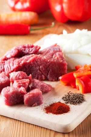raw ingredients of a hungarian goulash dish Stock Photo - 10729032