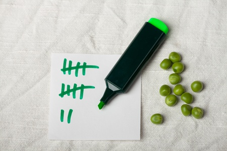 tally: peas and a tally sheet