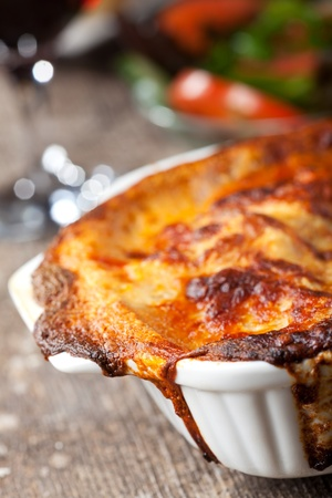 fresh lasagna dish in a baking dish
