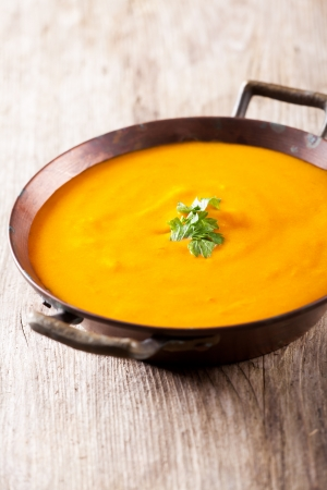 pumpkin soup in a bowl Stockfoto