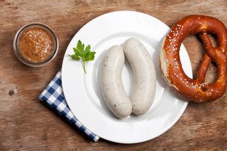 pair of bavarian white sausages  Stockfoto