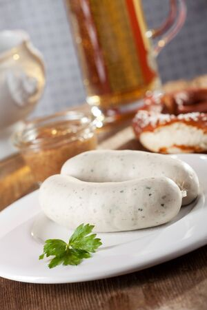 pair of bavarian white sausages  photo
