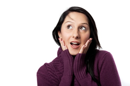 surprised woman looking to the left Stock Photo - 16327531