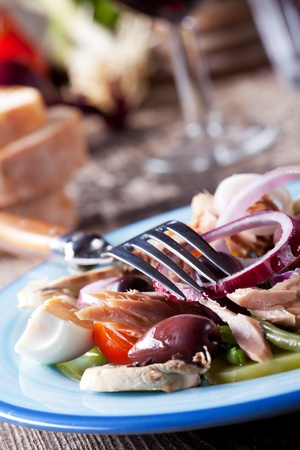 french salad nicoise on a plate  photo