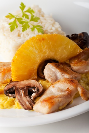 chicken curry with pineapple and rice Stock Photo - 11960898