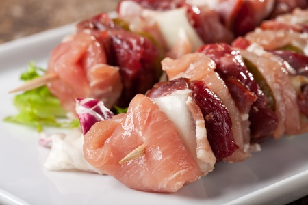 two raw shashlik skewers on a white plate Stock Photo - 12210054