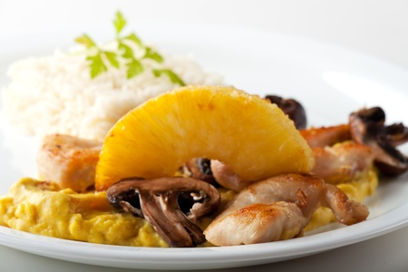 chicken curry with pineapple and rice  photo