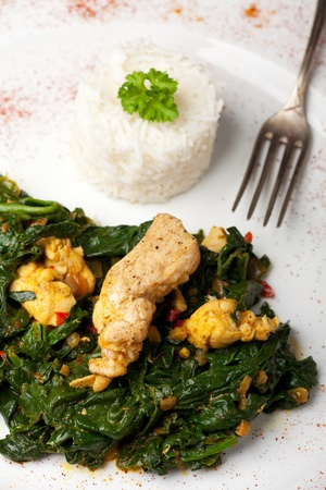 indian murgh palak spinach chicken dish  photo