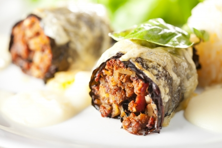 closeup of stuffed cabbage rolls on a plate  photo