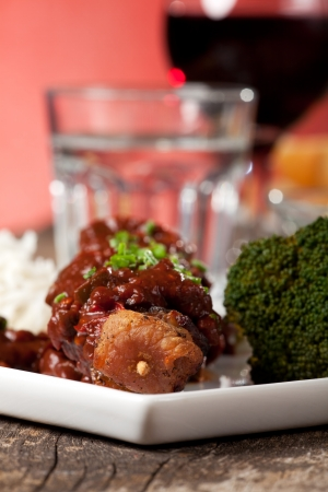 shashlik skewers with broccoli on a white plate Stock Photo - 13814069