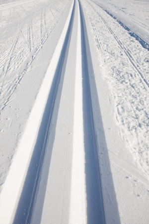 cross country skiing tracks in the winter  photo