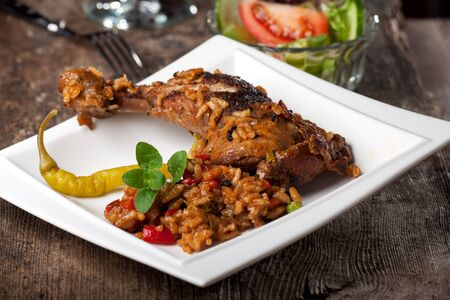grilled chicken leg on rice with chillie  Stock Photo - 13814099