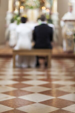 marble floor in a church during a wedding