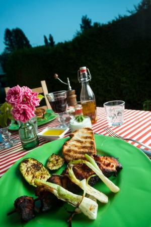 grilled chicken meat outdoor on a green plate  photo