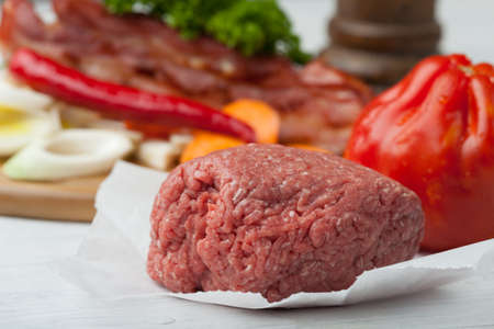 raw minced meat and ingredients