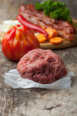 raw minced meat and ingredients Stock Photo - 14379334