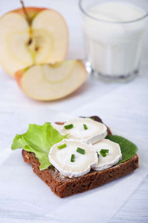 bread with goat cheese and apple  Stock Photo - 14478184