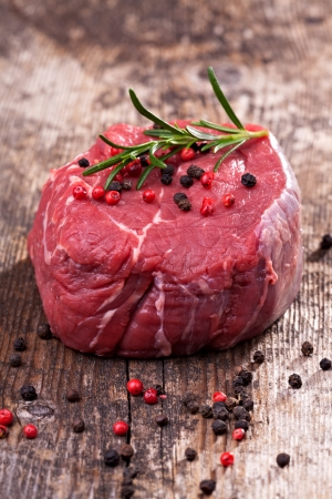 raw steak with pepper on wood Stock Photo - 14478217
