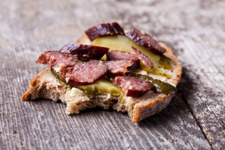 slice of bread with sausage  Stock Photo - 14546341