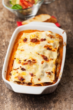italian lasagna on a square plate  Stock Photo - 14546342