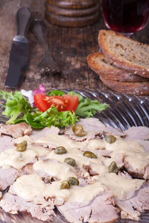italian vitello tonnato on a glass plate  Stock Photo - 14626255