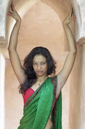 moorish clothing: young indian woman in a saree outdoors  Stock Photo