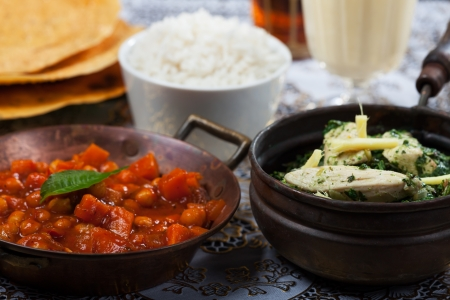 indian dishes with rice  photo