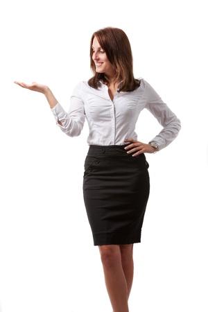 businesswoman skirt: businesswoman isolated on white  Stock Photo