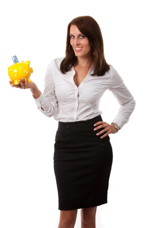 business woman with a piggybank  Stock Photo - 16335382