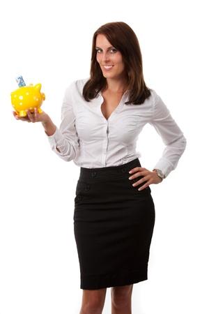 business woman with a piggybank Stock Photo - 16335382