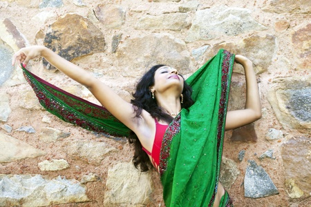 young indian woman in a saree outdoors  Stock Photo