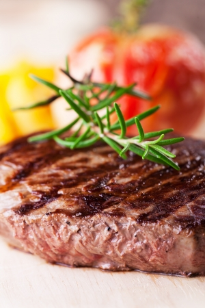 grilled steak with fries and tomato  Stock Photo