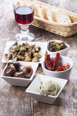 different italian antipasti and red wine  Stock Photo - 16259586