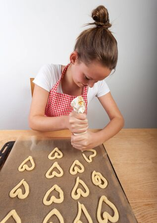 woman baking christmas cookies  photo