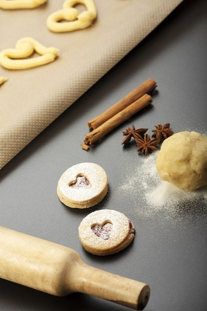 making of spritz biscuits with a rolling pin  Stock fotó