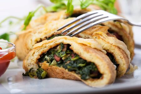 slices of spinach omelette Stock Photo - 16434899