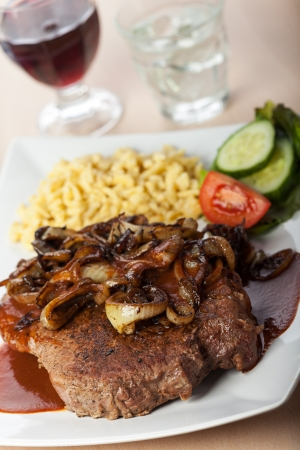 onion roast beef with spaetzle  Stock Photo - 16434900