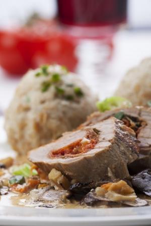 stuffed pork fillet with bread dumplings Stock Photo - 17018532