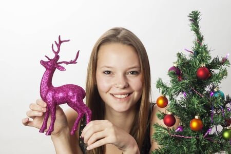 young woman decorating for christmas  Stock Photo - 17136996