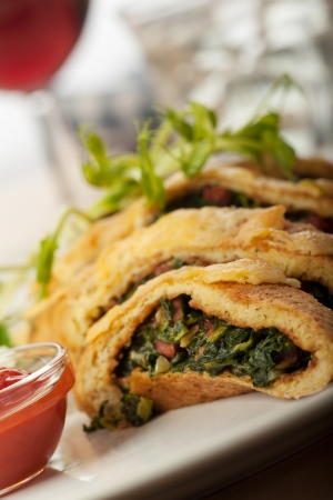 slices of spinach omelette  Stock Photo - 17018514