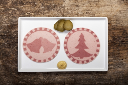 slices of sausages with tree shapes Stock Photo - 17019106