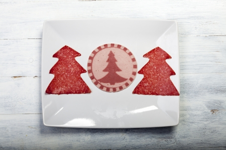 slices of sausages with tree shapes