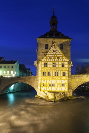 rathaus: old Rathaus in Bamberg, Germany at night  Editorial