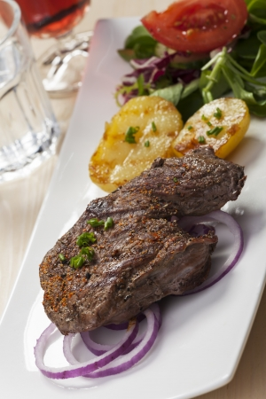 steak with potatoes and salad  Stock Photo - 17018533