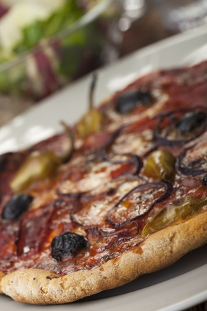 pizza with ham and olives Stock Photo - 17018517