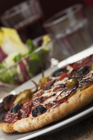 pizza with ham and olives Stock Photo - 17018512