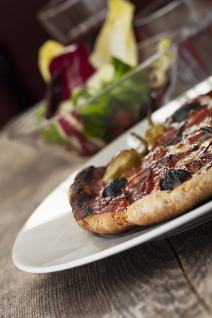 pizza with ham and olives Stock Photo - 17018521
