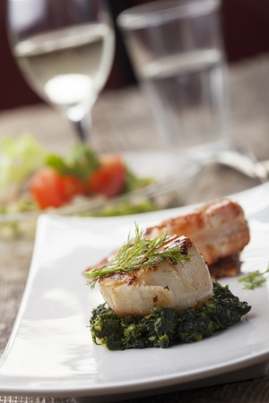 closeup of a grilled scallop on spinach Stock Photo - 17018505