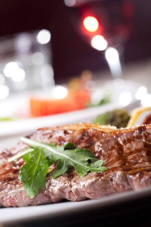 grilled sirloin steak with rocket salad  Stock Photo - 17018503