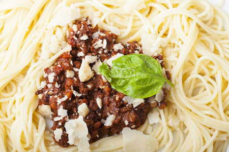 spaghetti with sauce bolognese and basil Stock Photo - 17086812